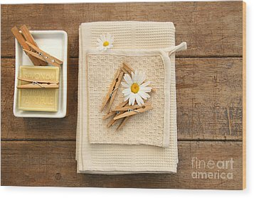 Soap Clothespins And Towels  Wood Print by Sandra Cunningham