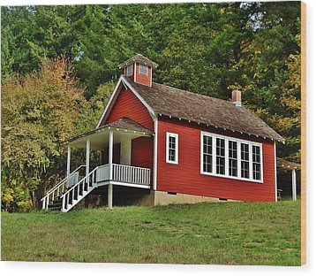 Soap Creek Schoolhouse Wood Print