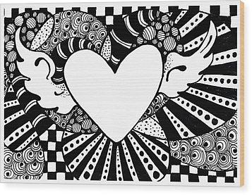 Soaring Heart  Wood Print by Nada Meeks