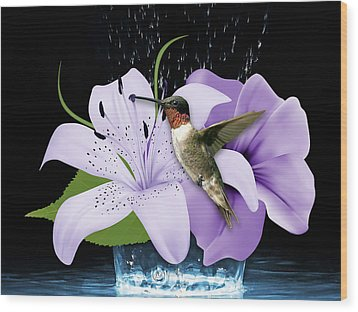 Wood Print featuring the mixed media Soaring Hummingbird by Marvin Blaine