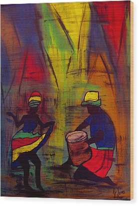Soca Dancing Wood Print by Glenda  Jones