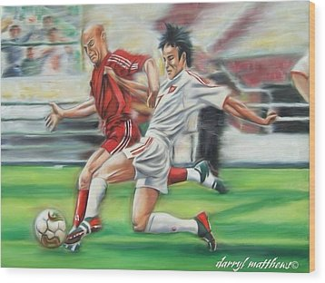 Soccer Battle Wood Print