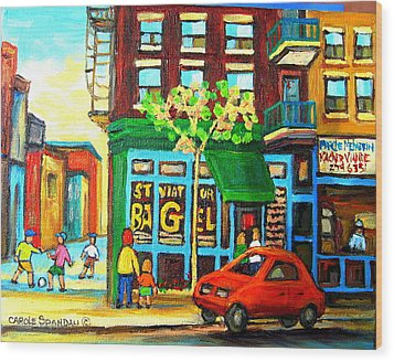 Soccer Game At The Bagel Shop Wood Print by Carole Spandau