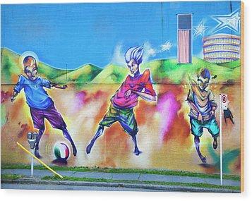Soccer Graffiti Wood Print by Theresa Tahara