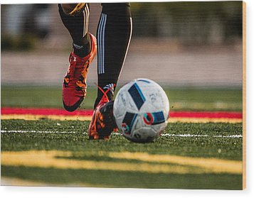 Soccer Wood Print by Hyuntae Kim