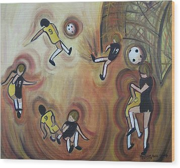 Soccer Wood Print by Suzanne  Marie Leclair