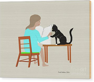 Socks Reads Sunday Paper Wood Print by Fred Jinkins