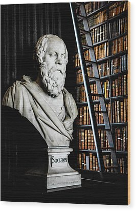 Socrates A Writer Of Knowledge Wood Print by Lexa Harpell
