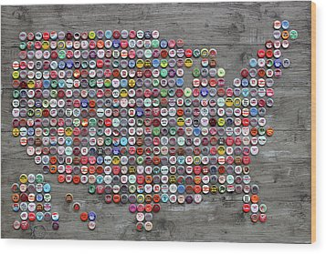 Soda Pop Bottle Cap Map Of The United States Of America Wood Print by Design Turnpike