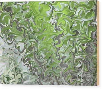 Soft Green And Gray Abstract Wood Print by Carol Groenen