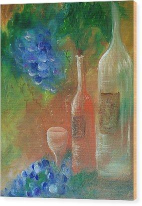 Soft Lite Wine Wood Print by Lynda McDonald