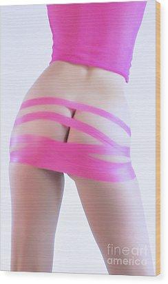 Soft Pink Tape Wood Print by Robert WK Clark