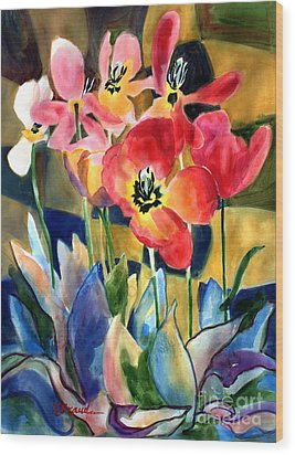 Soft Quilted Tulips Wood Print by Kathy Braud