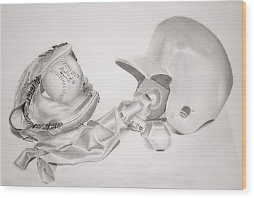Softball Wood Print by Leslie Ann Hammer