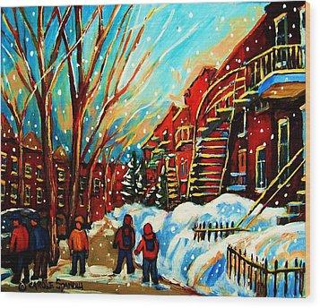Softly Snowing Wood Print by Carole Spandau