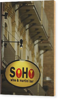 Soho Wine Bar Wood Print by Jill Reger