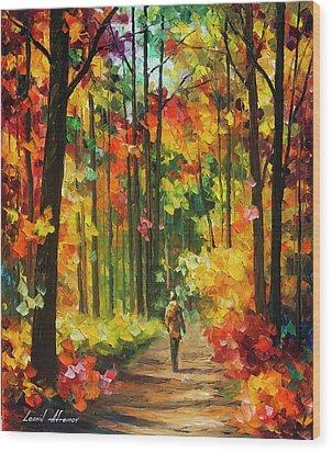 Soild Fall  Wood Print by Leonid Afremov