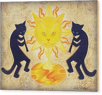 Solar Feline Entity Wood Print by John Deecken