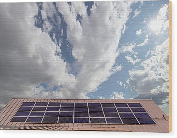 Solar Panels On Roof Top Wood Print by David Gn