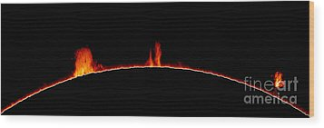 Solar Prominences Wood Print by Greg Piepol and Photo Researchers