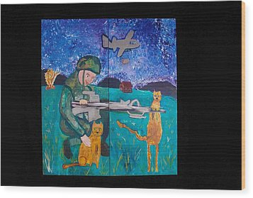 Soldier And Two Cats Wood Print by AJ Brown