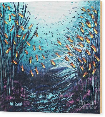 Soldier Fish And Coral  Wood Print