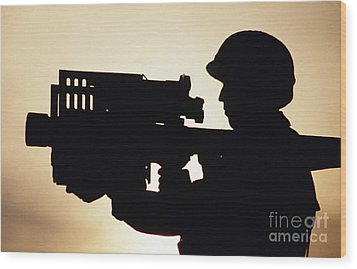 Soldier Holds A Stinger Anti-aircraft Wood Print by Stocktrek Images