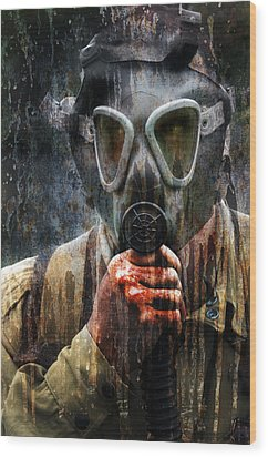 Soldier In World War 2 Gas Mask Wood Print