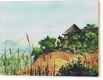 Wood Print featuring the painting Solitary Cottage In Malawi by Dora Hathazi Mendes
