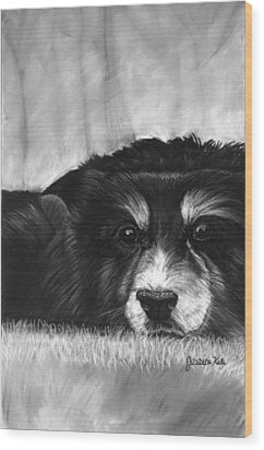 Solitary Dog Wood Print by Jessica Kale