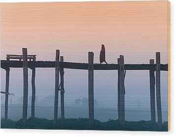 Solitary Walk Wood Print by Marji Lang