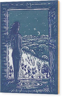 Wood Print featuring the drawing Solitude by Dawn Senior-Trask
