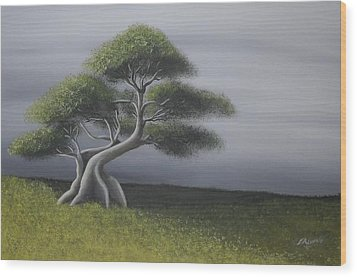 Wood Print featuring the painting Solitude by Edwin Alverio