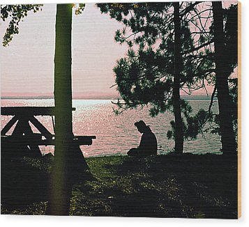 Solitude On A Golden Lake Wood Print by George Cousins