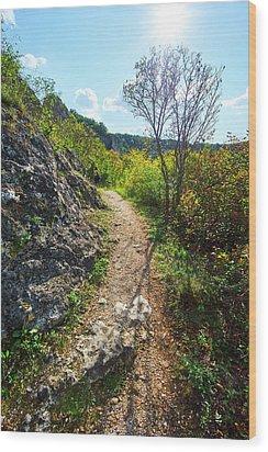Solo Hiking Wood Print