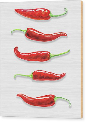 Wood Print featuring the painting Some Likes It Hot Red Chili  by Irina Sztukowski