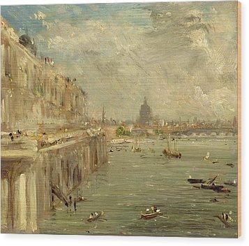 Somerset House Terrace From Waterloo Bridge Wood Print by John Constable