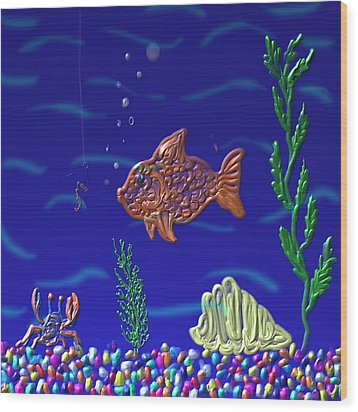 Something Fishy Wood Print by Kevin Caudill
