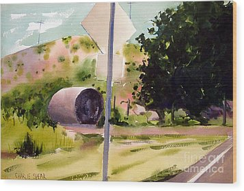 Wood Print featuring the painting Somewhere Near Fort Sill Oklahoma by Charlie Spear