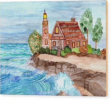 Somewhere On The Edge Wood Print by Connie Valasco