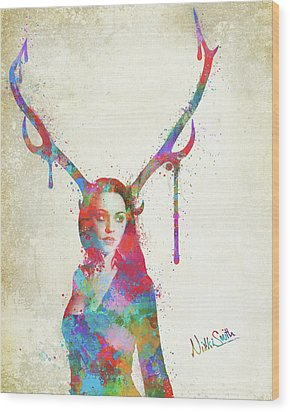 Wood Print featuring the digital art Song Of Elen Of The Ways Antlered Goddess by Nikki Marie Smith