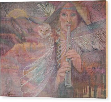 Song Of Our Sacred Dreaming Wood Print by Pamela Mccabe