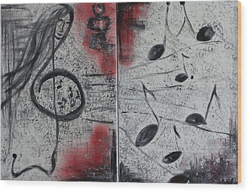 Wood Print featuring the painting Song by Sladjana Lazarevic