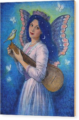 Songbird For A Blue Muse Wood Print by Sue Halstenberg