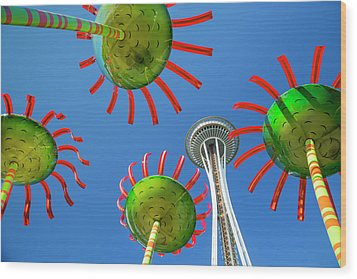 Wood Print featuring the photograph Sonic Bloom In Seattle Center by Adam Romanowicz
