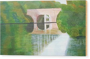 Sonning Bridge In Autumn Wood Print