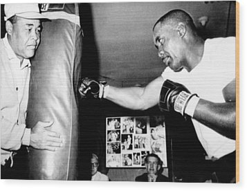 Sonny Liston Working Out On The Heavy Wood Print by Everett