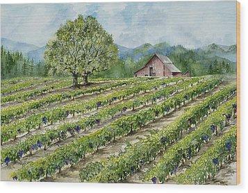 Sonoma County Vineyard Wood Print by Virginia McLaren