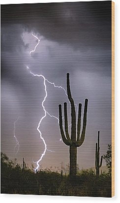 Wood Print featuring the photograph Sonoran Desert Monsoon Storming by James BO Insogna