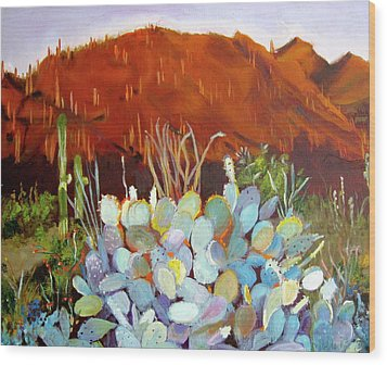 Wood Print featuring the painting Sonoran Sunset by Julie Todd-Cundiff